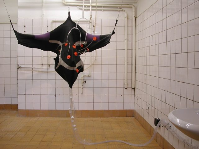 Marcus Ahlers: Plumbing Intervention (2003). Wetsuit, plastic, vinyl tubing, water, water pipes. Photo: Marcus Ahlers.