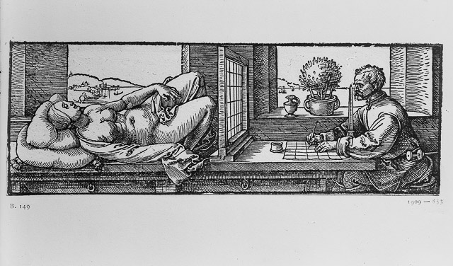 Albrecht Dürer: Draughtsman Making a Perspective Drawing of a Reclining Woman (1512 – 1525).